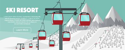Ski resort, lift flat vector illustration. Alps, fir trees, moun. Tains wide panoramic background. Aerial ropeways, hills, winter web banner design Stock Image