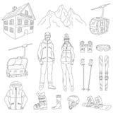 Ski Resort Line Icons Set Vector Stock Photos