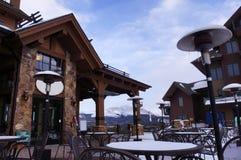 Ski resort lodge stock image