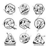 Ski resort logo emblems, labels badges vector Royalty Free Stock Image