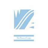 Ski resort logo. Vector logo with mountain silhouette and ski trail. Vector minimal design Stock Photos