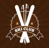 Ski Resort Logo. Vintage skiing resort or mountain patrol label, emblem or logo with ski and ski poles Stock Photography