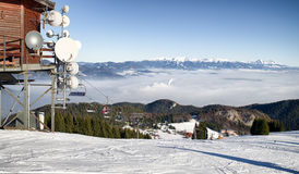 Ski resort Malino Brdo in Slovakia. High Tatras on backround. Caleway in ski resort Malino Brdo, Slovakia. West and High Tatras in backround Royalty Free Stock Photography