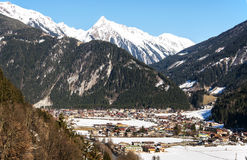 Ski resort Mayrhofen. Mayrhofen ski resort in Zillertal Alps in Austria royalty free stock image