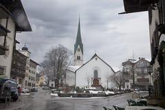 Ski resort Mayrhofen during heavy snowfall. Tirol, Austria Royalty Free Stock Photo