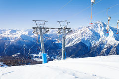 Ski resort in the midst of beautiful mountains Royalty Free Stock Image