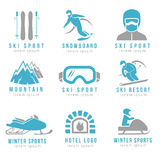 Ski resort and mountain hotel logo set with skiing  snowboarding Royalty Free Stock Images