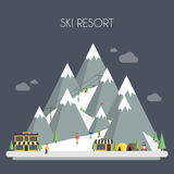 Ski Resort. Mountain landscapes. Vector flat Royalty Free Stock Photo