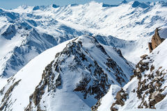 Ski resort of Neustift Stubai glacier Stock Photos