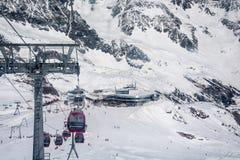 Ski resort of Neustift Stubai glacier Stock Photos