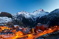 Ski resort at night. Les 2 Alps Stock Photography
