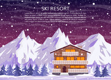 Ski resort at night. Ski resort, hotel or winter family house for xmas holidays on snowy landscape with mountains, pine forest and falling snow at night. Vector Royalty Free Stock Images