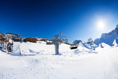 Ski resort panorama with piste and skilift ropeway Royalty Free Stock Photography