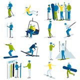 Ski Resort People  Icons Set. Ski resort  icons set with  people moving down from mountain on skis and snowboards isolated vector illustration Stock Image