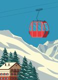Ski resort with red gondola lift, chalet, winter mountain landscape, snowy slopes. Alps travel retro poster, vintage.