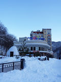 Ski resort Rosa Khutor, Russia, winter season. Much snow on winter ski resort, Krasnaya Polyana, Russia royalty free stock photography