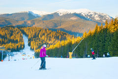 Ski resort scene. Bukovel, Ukraine Stock Photo