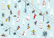 Ski Resort Seamless Pattern avec des surfeurs et Photo stock