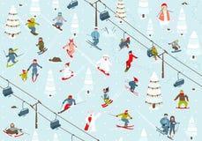 Ski Resort Seamless Pattern med Snowboarders och Arkivfoto