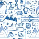 Ski Resort Seamless Pattern. Ski resort seamless background with skiing and snowboarding equipment. Winter sports pattern with extreme lifestyle icons including Royalty Free Stock Image