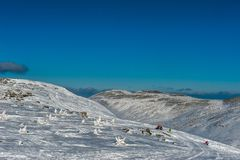 Ski resort Sheregesh, Tashtagol district, Kemerovo region, Russia. Sheregesh ski resort, Kemerovo region, Russian Federation stock image