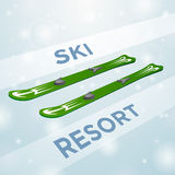 Ski resort skiing in motion Royalty Free Stock Photography
