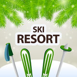 Ski resort skiing and poles Stock Photos