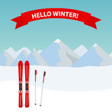 Ski resort with skis Royalty Free Stock Image