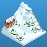 Ski resort, slope, people on the ski lift, skiers on the piste among white snow pine trees and hotel. Winter holiday web. Banner design. Vector isometric stock illustration