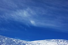 Ski resort slope and sky Stock Photos