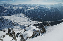 Ski resort in the snow covered Dolomiti mountains Royalty Free Stock Photos