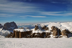 Ski resort in the snow covered Dolomiti mountains Royalty Free Stock Photo