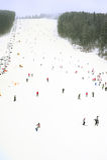 Ski resort in the snowfall Royalty Free Stock Photography