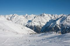 Ski resort  Solden. Austria Royalty Free Stock Photo