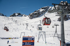 Ski resort Stubai glacier Austria Royalty Free Stock Photos