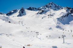 Ski resort Stubai glacier Austria Stock Photos