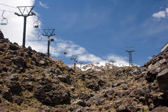 Ski resort at summer. Mountain ski resort on slopes of Mount Ruapehu, New Zealand, in the middle of summer royalty free stock photos
