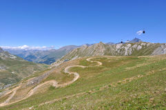 Ski resort in summer. Mountain landscape with cableway in summer - ski resort Tignes Stock Photos