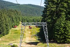 Ski resort at summertime in the Carpathian mountains stock image