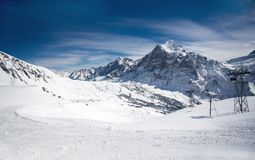 Ski resort in Switzerland, Alps Royalty Free Stock Images