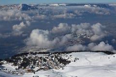 Ski Resort Town. Ski resort in the alps, Chamrousse Royalty Free Stock Photo