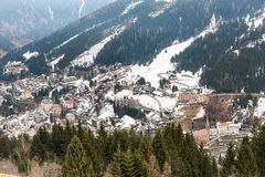 Ski resort town Bad Gastein in winter snowy mountains, Austria, Land Salzburg Royalty Free Stock Photos