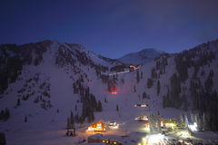 Ski resort town skyline night Royalty Free Stock Image