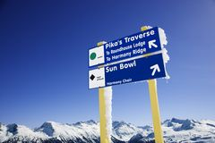 Ski resort trail signs. stock image
