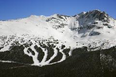 Ski resort trails on mountain. Royalty Free Stock Image