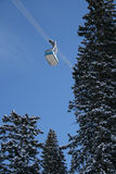 Ski resort tram #2. Snowbird's tram in winter with snow capped trees stock image