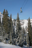 Ski resort tram #5. Snowbird's tram in winter with snow capped trees #5 royalty free stock images