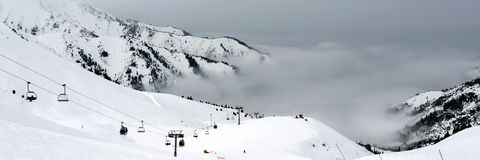 Ski Resort under the Clouds Stock Photos