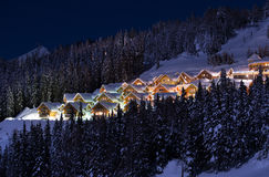 Ski resort. Up in the mountains one evening Royalty Free Stock Photography