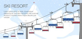 Free Ski Resort Vacation, Ski Lift. Winter Outdoor Holiday Activity Sport In Alps, Landscape With Winter Mountain View Royalty Free Stock Photos - 129852778